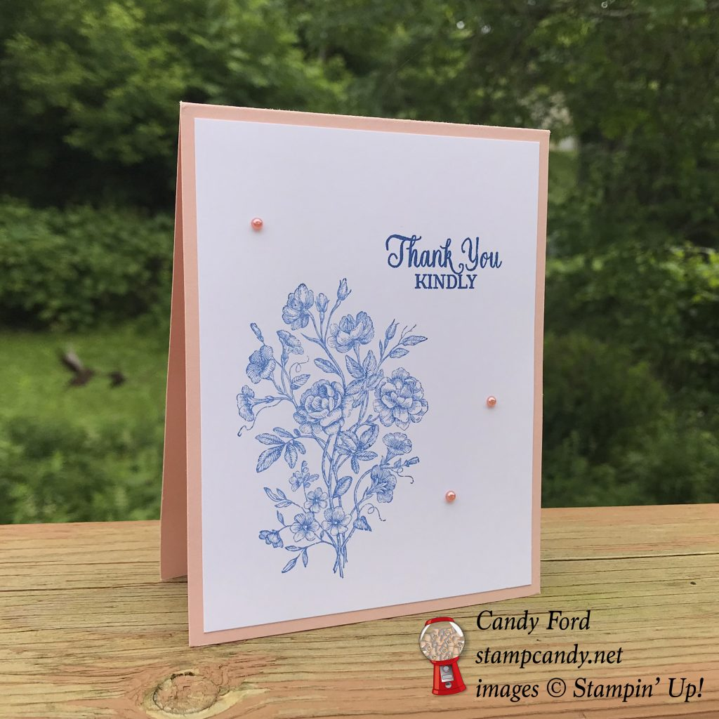 Thank You card made with the Very Vintage host stamp set, Enjoy Life stamp set, and Share What You Love Artisan Pearls by Stampin' Up! #stampcandy