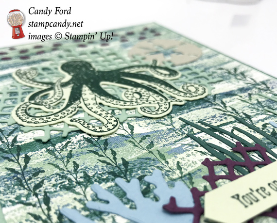 Stampin' Up! Sea of Textures stamp set and Tranquil Textures DSP handmade card by Candy Ford of Stamp Candy