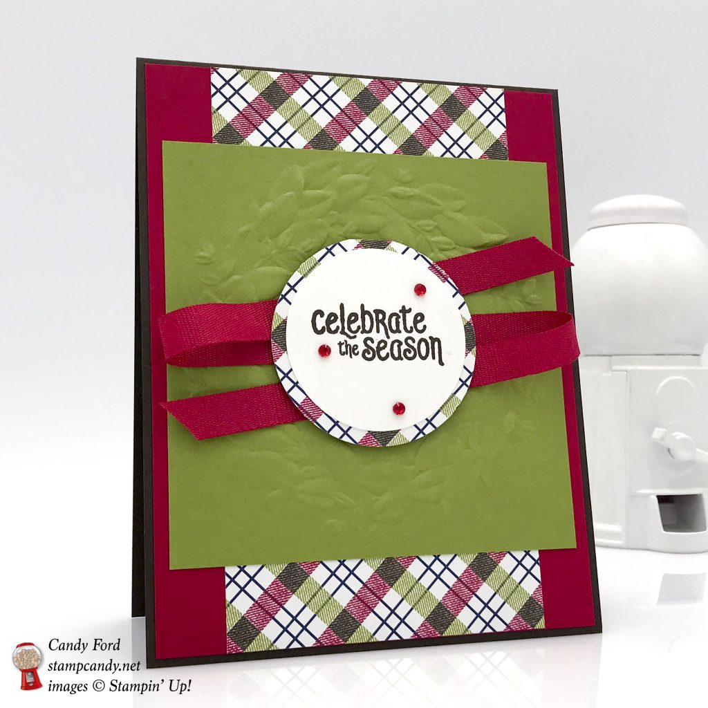 Christmas card made using Mistletoe Season stamp set, Seasonal Wreath Dynamic embossing folder, and Under the Mistletoe Designer Series Paper by Stampin' Up! #stampcandy