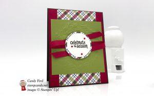 Christmas card made using Mistletoe Season stamp set, Seasonal Wreath Dynamic embossing folder, and Under the Mistletoe Designer Series Paper by Stampin