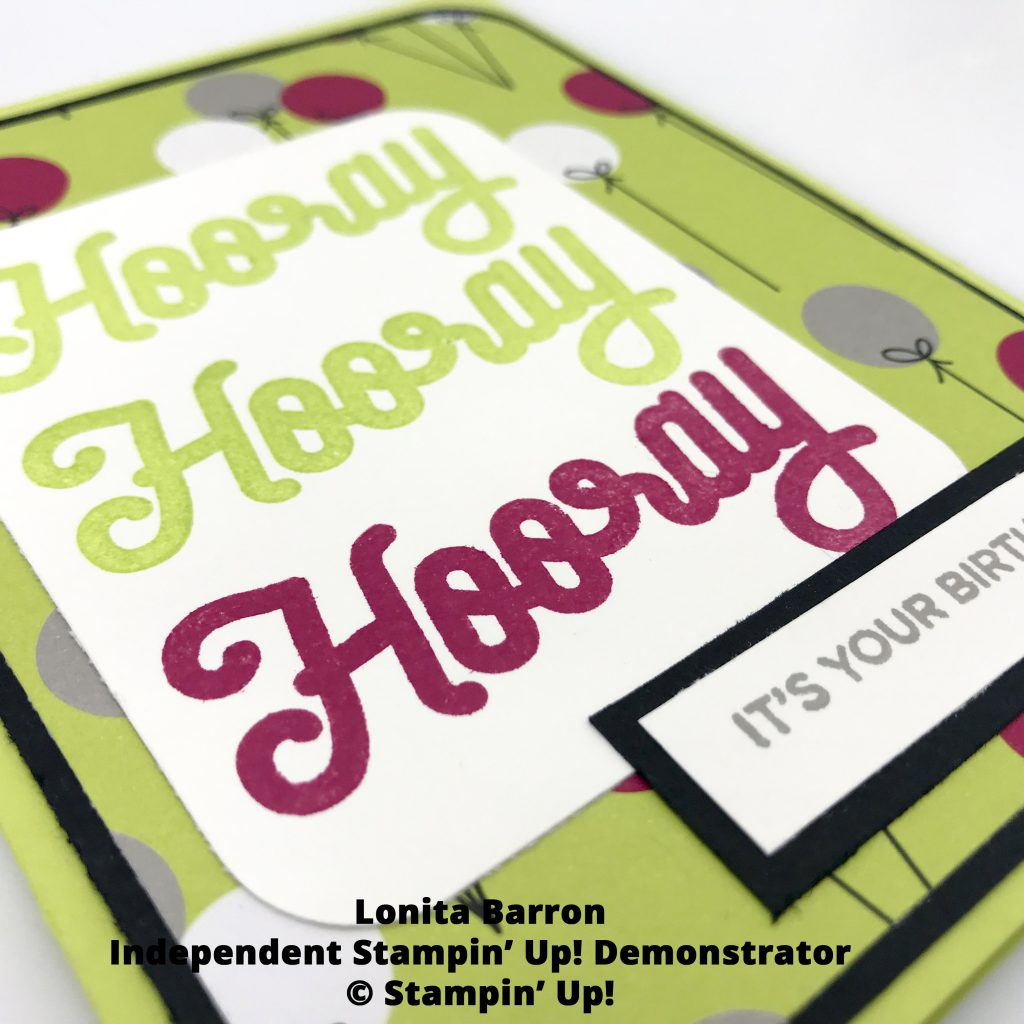 Click through to see how to make this birthday card made using the Broadway Birthday suite by Stampin' Up! #stampcandy