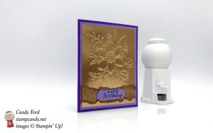 Handmade Birthday Card Stampin Up Lovely Floral TIEF in Copper Foil and purples by Candy Ford of Stamp Candy