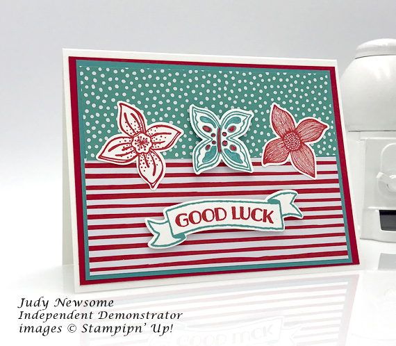 Stampin' Up! Pop of Petals bundle and banners for you stamp set were used to make this Good Luck card by Judy Newsome for Stamp Candy