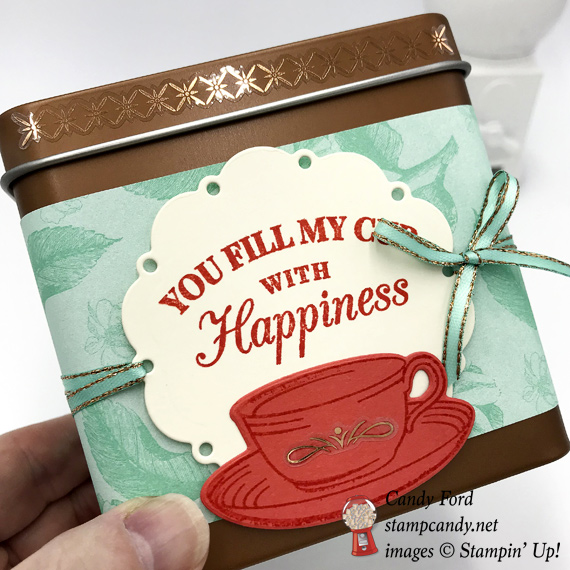 Stampin' Up! Time for Tea stamp set and Spot of Tea framelit dies were used to decorate this copper tea tin by Candy Ford of Stamp Candy