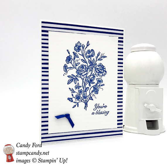 Stampin' Up! Very Vintage Blessings card in Blueberry Bushel by Candy Ford of Stamp Candy