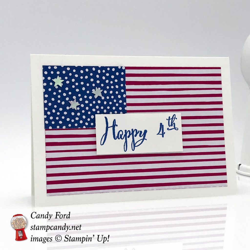 Happy 4th card made using the Make a Difference Stamp Set and new In Color DSP by Stampin' Up! #stampcandy