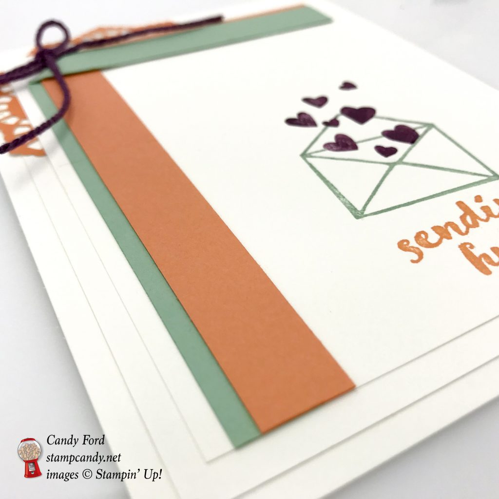 Sending Hugs card made with the One For All stamp set by Stampin' Up! The colors are Fresh Fig, Grapefruit Grove, and Mint Macaron #stampcandy