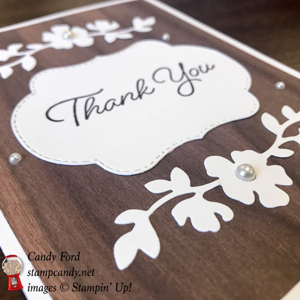 Blended Seasons Bundle thank you card with Wood Textures by Stampin' Up! #stampcandy