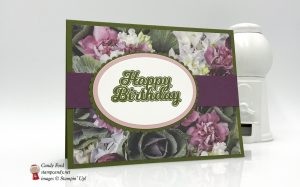 Birthday Card made using the Blow Out the Candles stamp set, Petal Promenade Designer Series Paper (DSP), and Layering Ovals Framelits Dies by Stampin