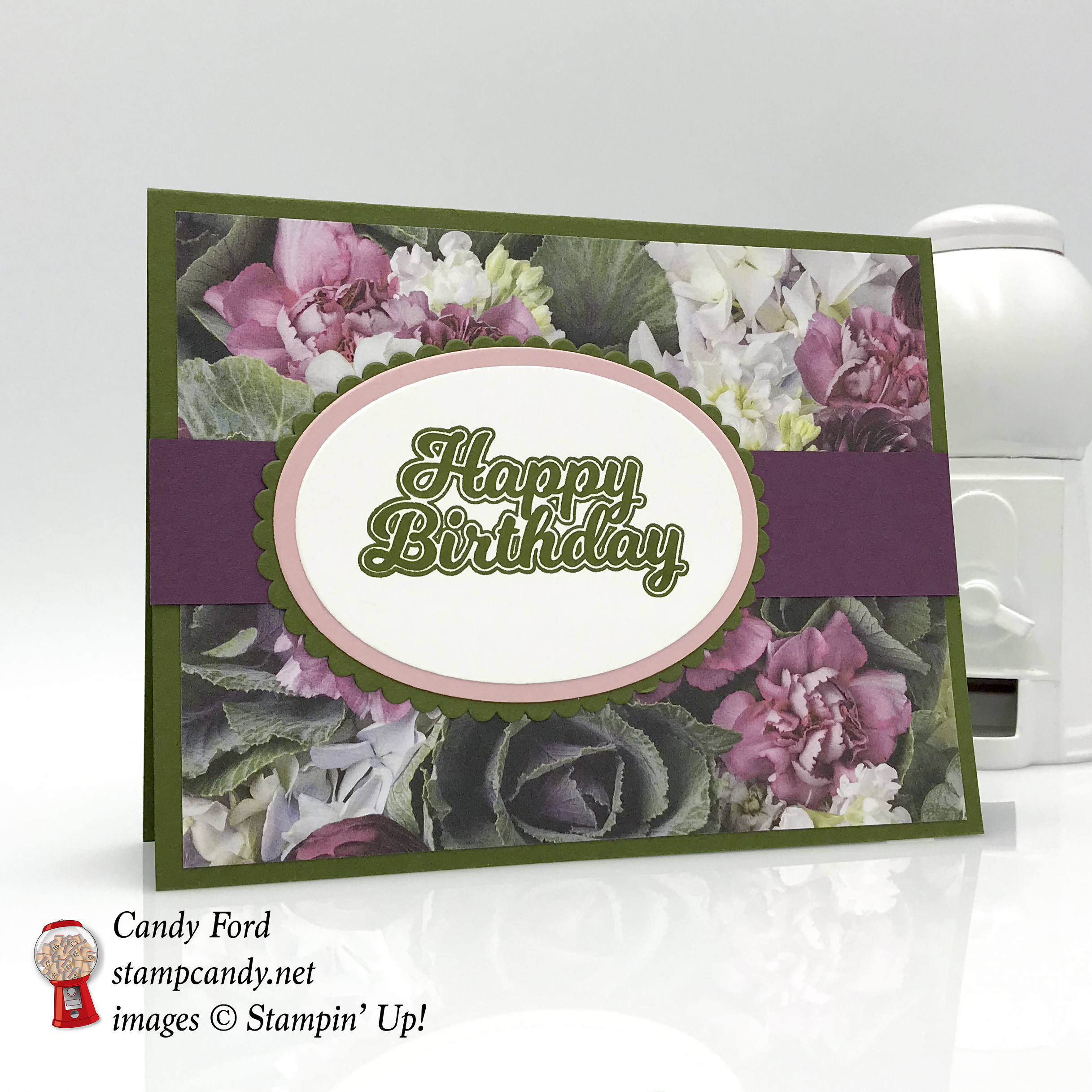Birthday Card made using the Blow Out the Candles stamp set, Petal Promenade Designer Series Paper (DSP), and Layering Ovals Framelits Dies by Stampin' Up! #stampcandy