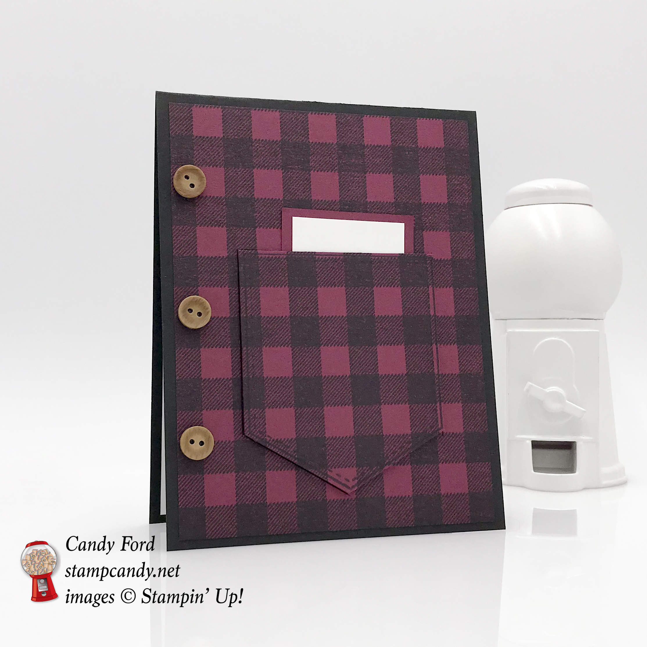 plaid shirt pocket card, Buffalo Check, Pocketful of Sunshine, Himemade Kindness stamp sets by Stampin' Up! #stampcandy