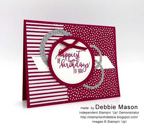 Debbie Mason made this card with Stampin' Up! Picture Perfect Birthday in Lovely Lipstick