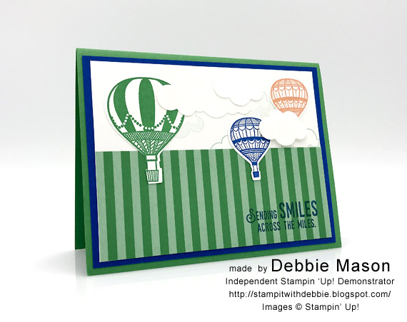 Handmade card made with Stampin' Up! Lift Me Up and Up and Away framelits by Debbie Mason for Stamp Candy In-colors 2018-2020 Call Me Clover #stampcandy