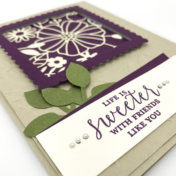 Debbie Mason - Stampin' Up! Detailed With Love Life is Sweeter with friends like you handmade card.