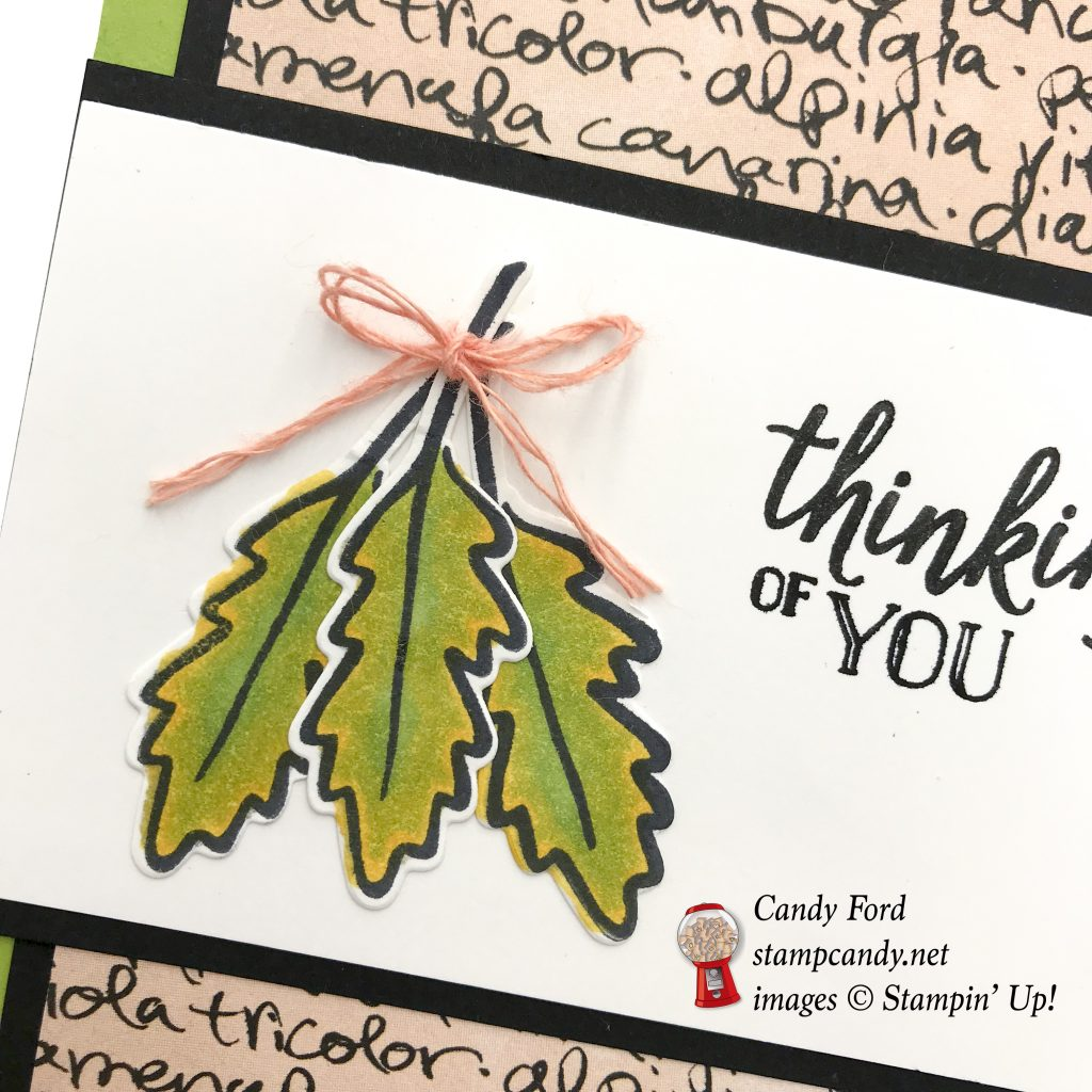 Falling for Leaves bundle thinking of you card, Stampin' Up! #stampcandy