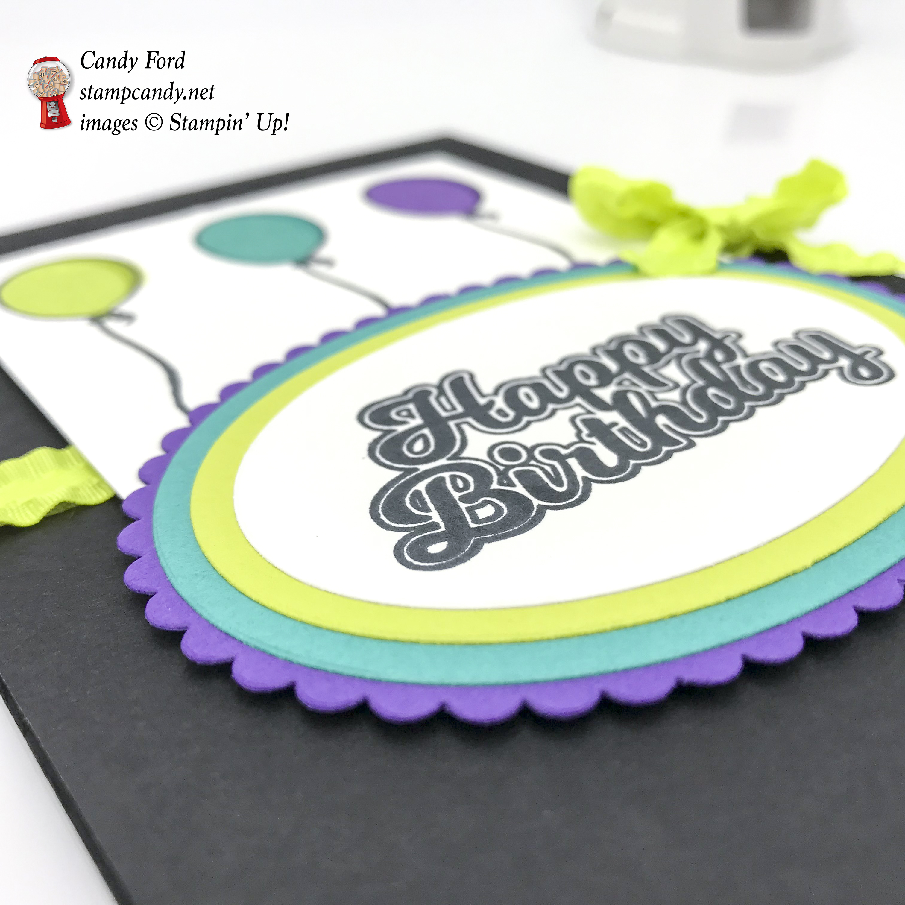 "Happy Birthday card made using the Blow Out the Candles stamp set, Layering Ovals Framelits Dies, and Lemon Lime Twist 3/8"" Mini Ruffled Ribbon by Stampin' Up! #stampcandy"