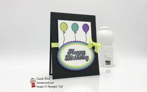 """Happy Birthday card made using the Blow Out the Candles stamp set, Layering Ovals Framelits Dies, and Lemon Lime Twist 3/8"""" Mini Ruffled Ribbon by Stampin"""