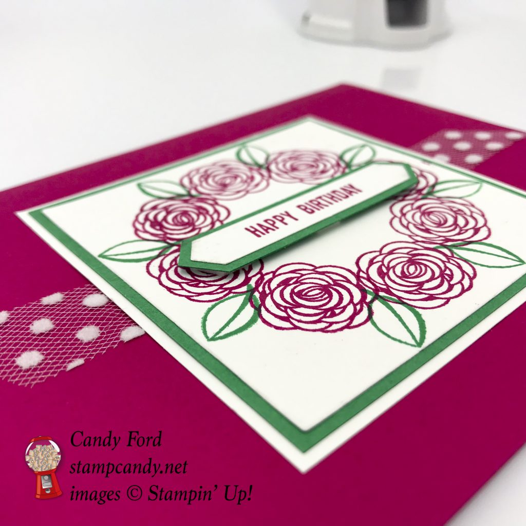 Happy Birthday Gorgeous Stamparatus wreath card, Stampin' Up! #stampcandy