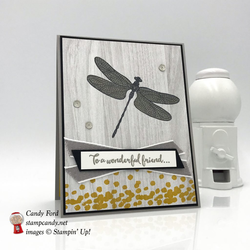 handmade card, Dragonfly Dreams stamp set, Detailed Dragonfly Thinlits Dies, and Festive Farmhouse DSP for OSAT August Blog Hop, Stampin' Up! #stampcandy