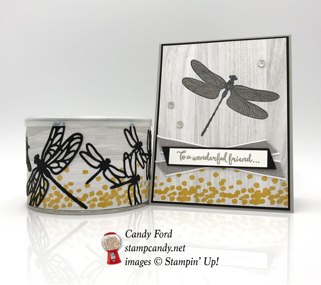 handmade card, nut container, Dragonfly Dreams stamp set, Detailed Dragonfly Thinlits Dies, and Festive Farmhouse DSP for OSAT August Blog Hop, Stampin' Up! #stampcandy