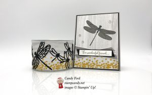 Dragonfly Dreams stamp set, Detailedhandmade card, nut container, Dragonfly Dreams stamp set, Detailed Dragonfly Thinlits Dies, and Festive Farmhouse DSP for OSAT August Blog Hop, Stampin