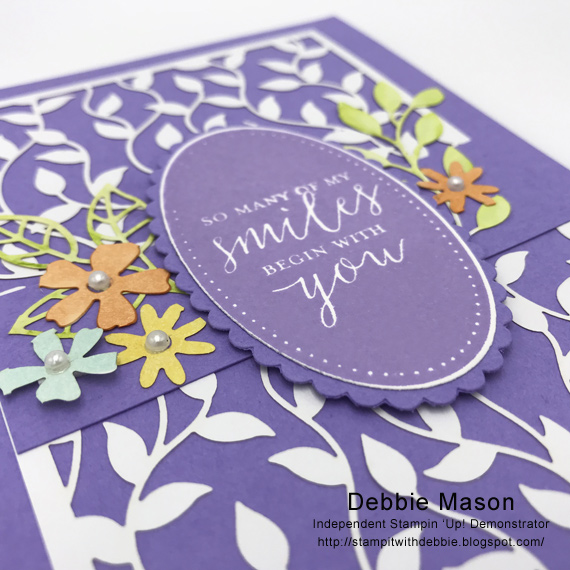 Debbie Mason used Stampin' Up! Delightfully Detailed Laser Cut Specialty Paper and Detailed With Love stamp set to make this handmade card.