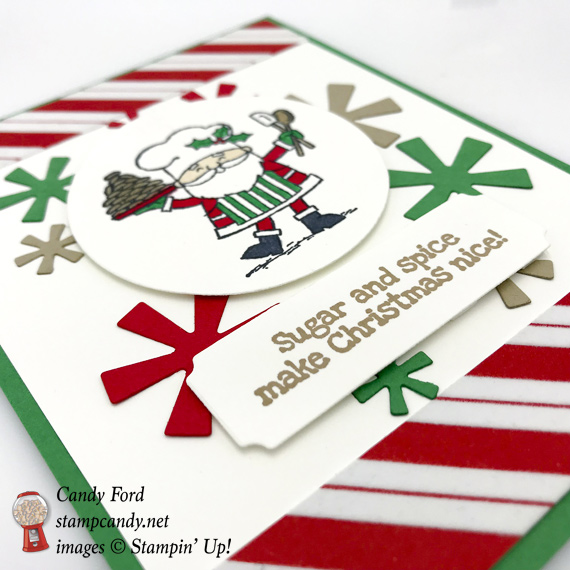 Stampin' Up! So Santa stamp set, Santa's Signpost Thinlit Dies, Santa's Workshop DSP were used to make this handmade Christmas Card by Candy Ford of Stamp Candy