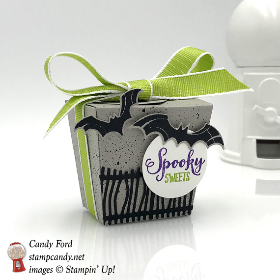 Stampin' Up! Spooky Sweets stamp set and Takeout Thinlit dies make up this handmade gift idea by Candy Ford of Stamp Candy #stampcandy