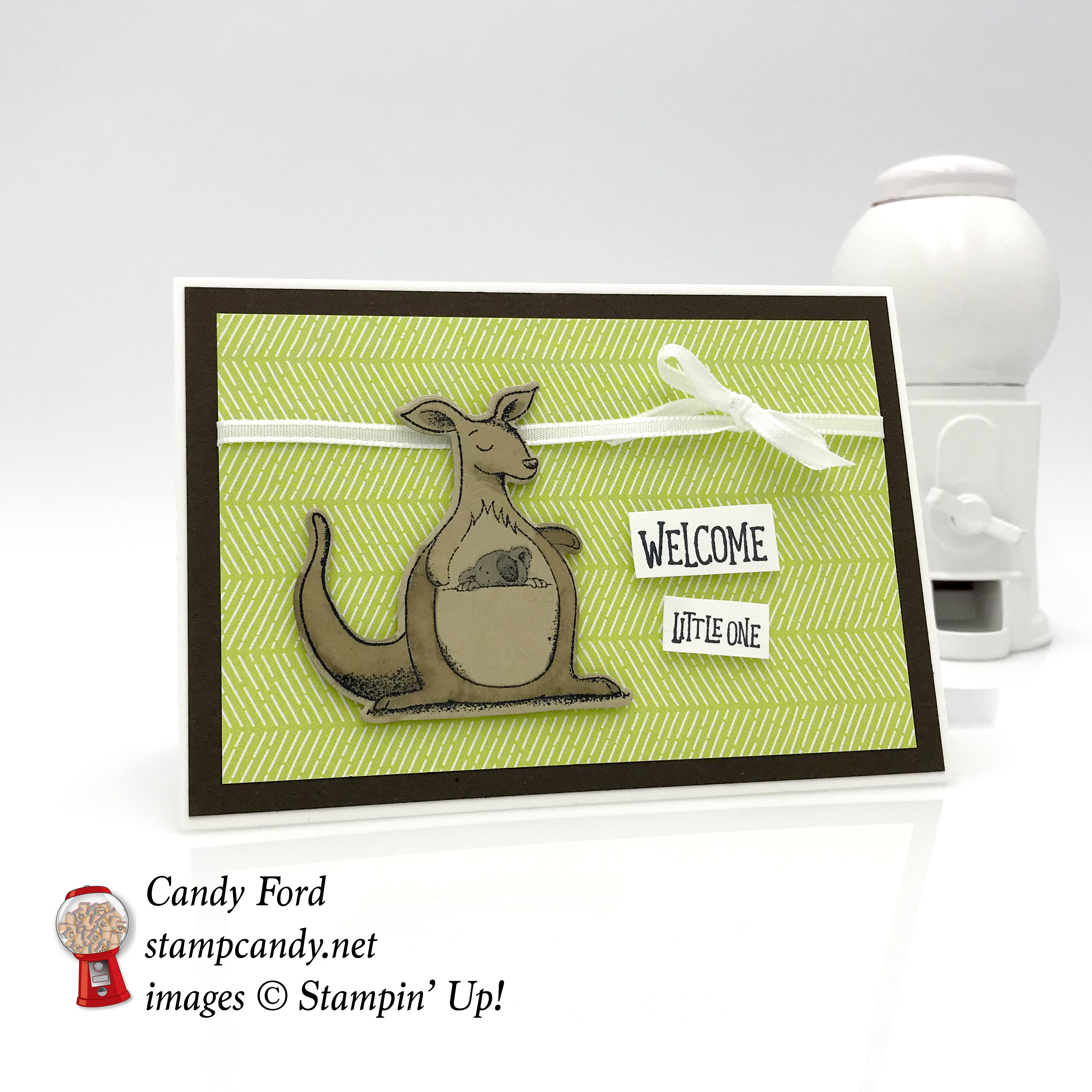 Welcome little one, baby note card, Animal Outing bundle by Stampin' Up! #stampcandy