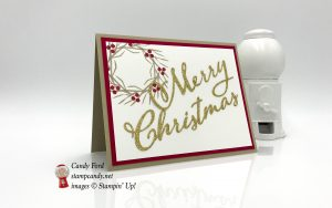 Stamparatus wreath xmas card made using Merry Christmas Thinlits Dies and Joyous Noel stamp set by Stampin