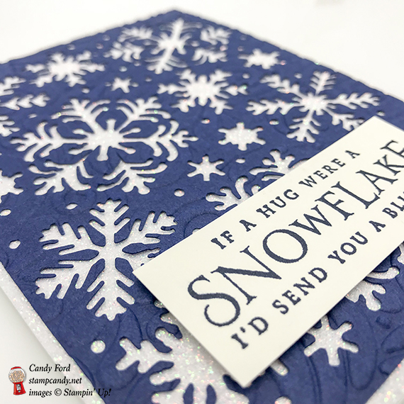 Beautiful Blizzard if a snowflake were a hug card, Stampin' Up! #stampcandy