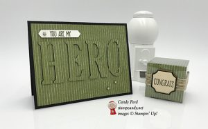 I Need A Hero card for ICS Blog Hop, made with Sunshine Sayings stamp set & Large Letters Framelits Dies by Stampin