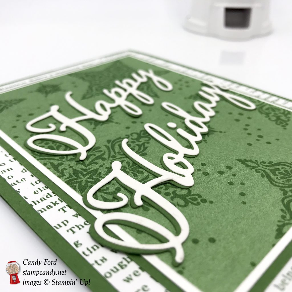 Christmas Holidays card, Dashing Along DSP promotion, Merry Christmas Thinlits Dies, Stampin' Up! #stampcandy