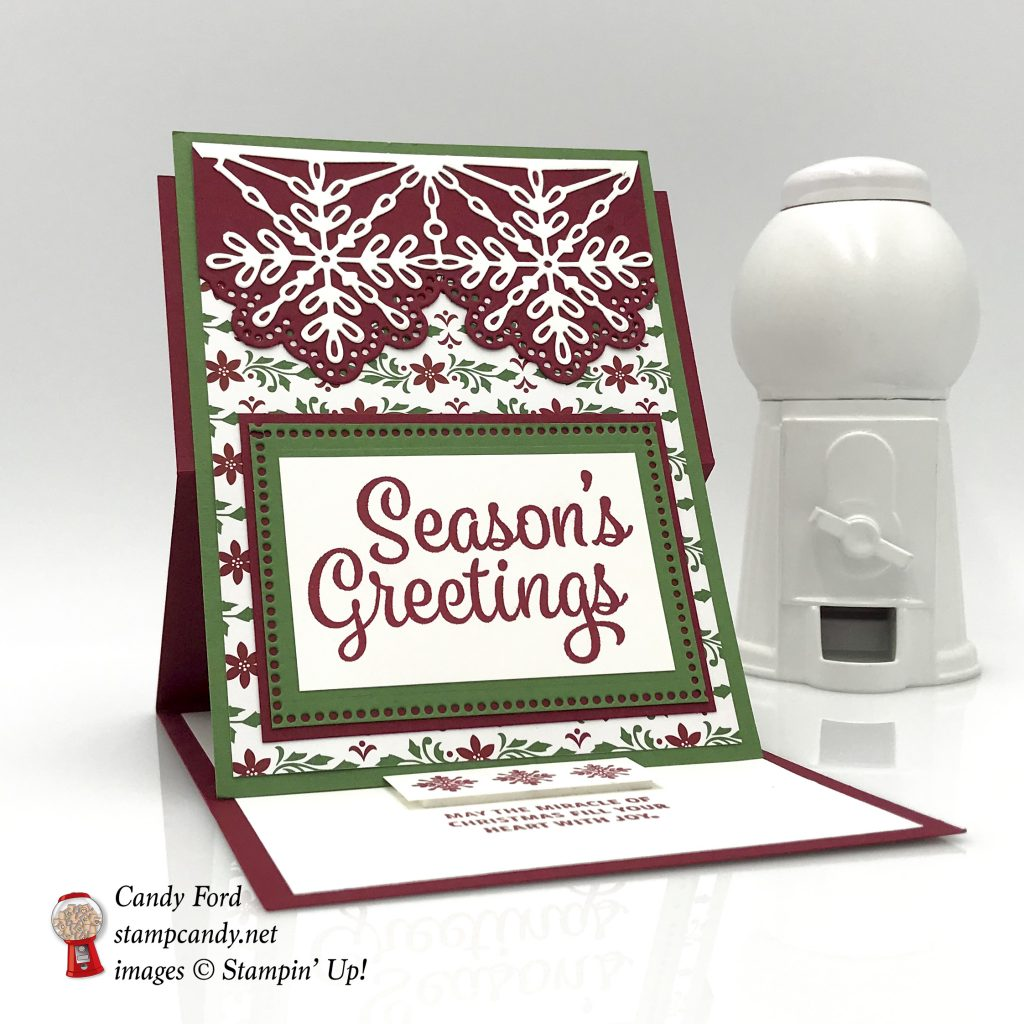 Dashing Along DSP promo, Snowflake Sentiment stamp set, easel card, Stampin' Up! #stampcandy