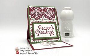 Dashing Along DSP promo, Snowflake Sentiment stamp set, easel card, Stampin