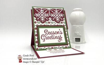 Snowflake Sentiments Easel Card with Dashing Along DSP