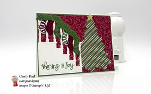 holiday card made with Dashing Along DSP, Ready for Christmas stamp set and Christmas Staircase Thinlits Dies by stampin