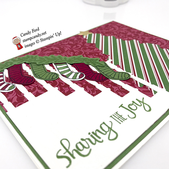 holiday card made with Dashing Along DSP, Ready for Christmas stamp set and Christmas Staircase Thinlits Dies by stampin' Up! #stampcandy