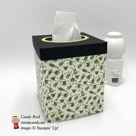 tissue box cover made with Toil & Trouble DSP by Stampin' Up! #stampcandy