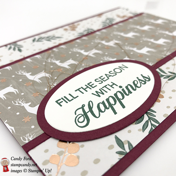 Joyous Noel DSP, Peaceful Noel stamp set, Layering Ovals Framelite Dies, Christmas card, Stampin' Up! #stampcandy