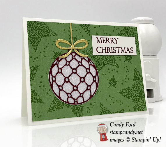 Stampin' Up! Beautiful Baubles Dashing Deer dsp handmade Christmas card with glimmer paper by Candy Ford of Stamp Candy