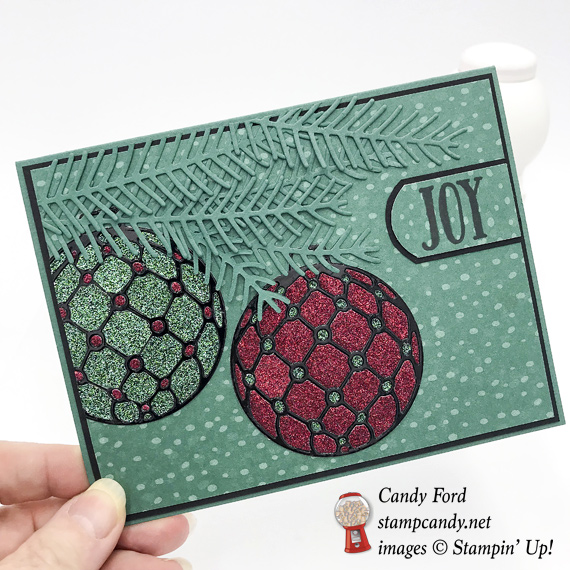 Stampin' Up! Beautiful Baubles handmade Christmas card with glimmer paper by Candy Ford of Stamp Candy
