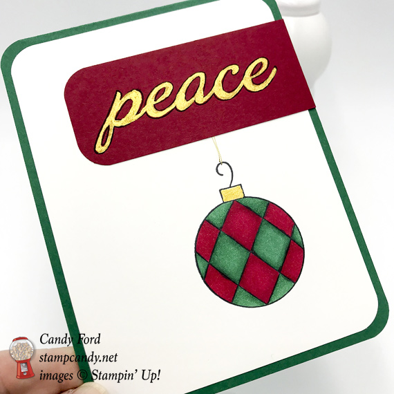 Stampin' Up! Great Joy Christmas Peace handmade card with gold shimmer paint by Candy Ford of Stamp Candy