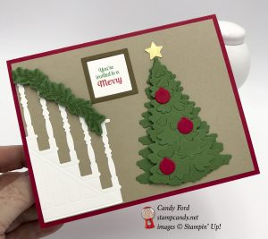 Halloween Christmas party invitation card, In the Woods and Christmas Staircase die sets, Stampin' Up! #stampcandy