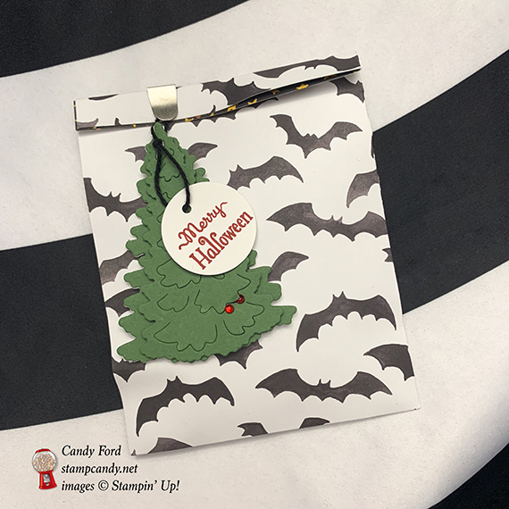 Halloween Christmas treat bag, In the Woods dies, Toil & Trouble paper, Stampin' Up! #stampcandy
