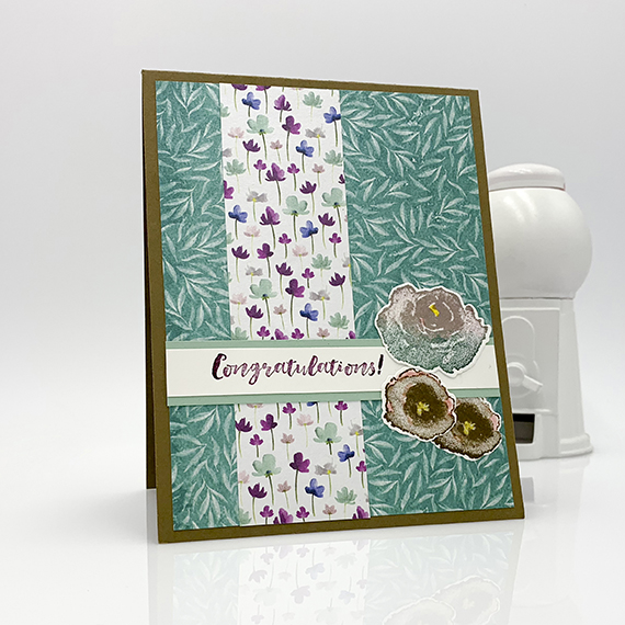 Congratulations card made with First Frost stamp set, Frosted Bouquet dies, Frosted Floral paper by Stampin' Up! #stampcandy