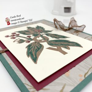Joy & Noel stamp set, Joyous Noel paper, and copper heat embossing make up this Christmas card, Stampin' Up! #stampcandy