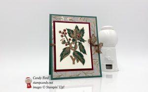 Joy & Noel stamp set, Joyous Noel paper, and copper heat embossing make up this Christmas card, Stampin