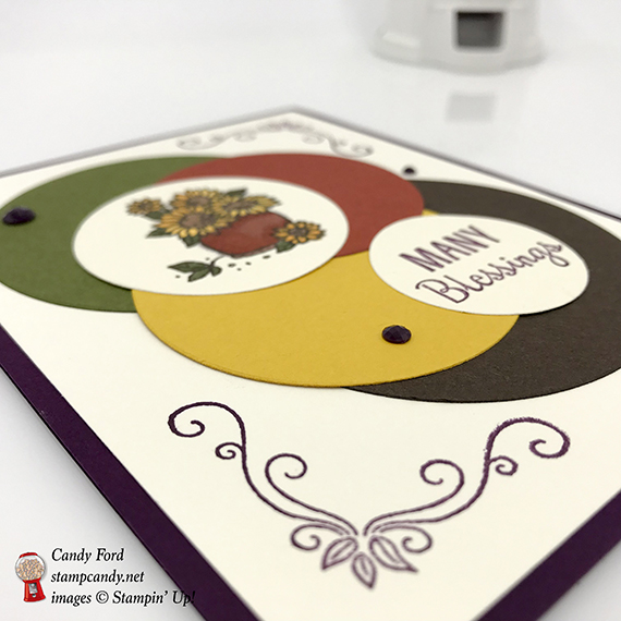 Many Blessings stamp set and Layering Circles Framelits Dies, Faceted Dots, Fall Autumn card, for ICS Blog Hop, Stampin' Up! #stampcandy