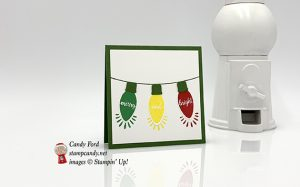 Mini Christmas card make with the Making Christmas Bright stamp set and Christmas Bulb Builder Punch by Stampin